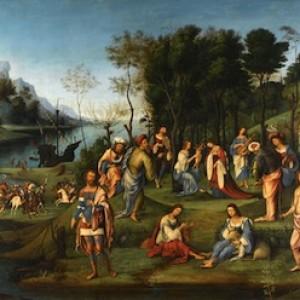 Lorenzo Costa, Il regno di Amore. Allegoria della corte di Isabella d'Este, 1506 ca., Parigi, Louvre