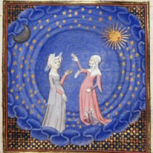 Miniatura da Le Livre du chemin de long estude di Christine de Pizan, 1410 ca., Londra, British Library