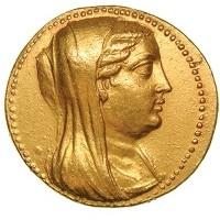 La moneta sulla quale è ritratta Berenice II (recto).
