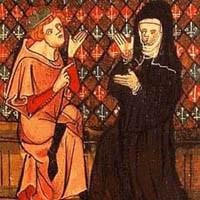 Abelardo ed Eloisa, Roman de la rose, miniatura del XIII-XIV secolo