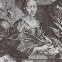 Georg Gsell /Jakob Houbraken, Ritratto di Maria Sibilla Merian, incisione a bulino, frontespizio del libro sui bruchi, 1718, Universitätsbibliothek, Erlangen-Nürnberg
