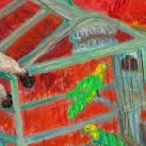Gabriella Oreffice, Gatto e pappagalli, 1984,olio su tela