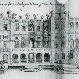Plautilla Bricci, disegno del Vascello, prospetto longitudinale, 1663 (Archivio di Stato)