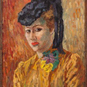 Gabriella Oreffice, Elena con il cappellino, 1950, olio su tela