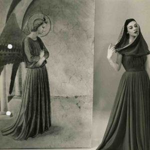 Germana Marucelli, abito da sera Linea Fraticello, autunno/inverno 1954/55. L'abito è indossato dalla modella Ivy Nicholson. © Fotografia Interfoto, Archivio Germana Marucelli